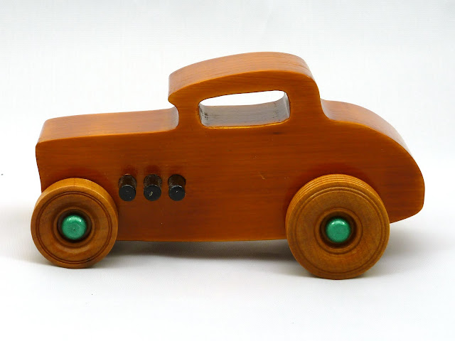 Left Side - Wooden Toy Car - Hot Rod Freaky Ford - 32 Deuce Coupe - Pine - Amber Shellac - Metallic Green