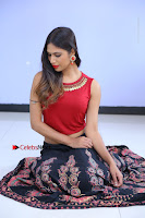 Telugu Actress Nishi Ganda Stills in Red Blouse and Black Skirt at Tik Tak Telugu Movie Audio Launch .COM 0110.JPG
