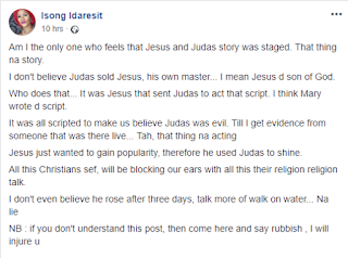 'I don't believe Jesus rose after three days, and I don't believe Judas sold him'- Nigerian lady 2