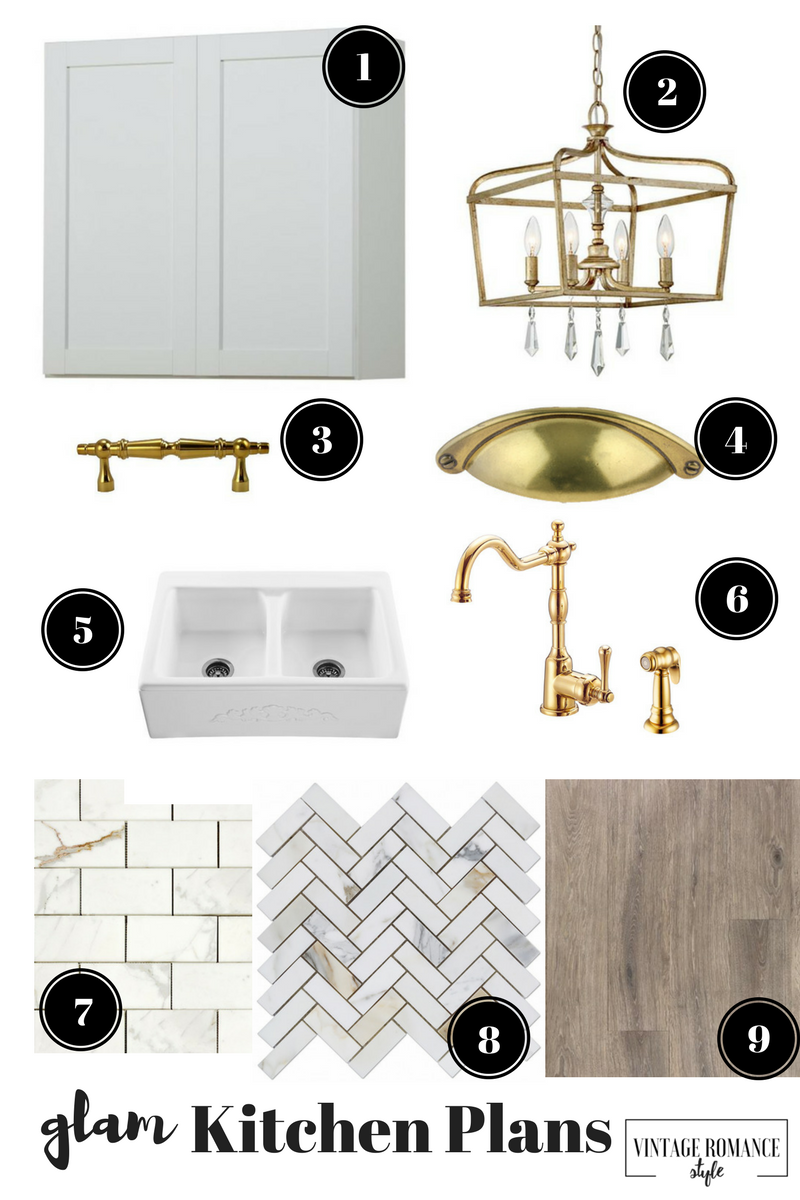 New House + Fixer Upper Glam Kitchen Plans | VINTAGE ROMANCE STYLE on