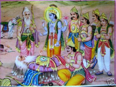 Bhishma advises Yudhistra with Pandavas and Krishna on his death bed of arrows_Shanti Parva-118