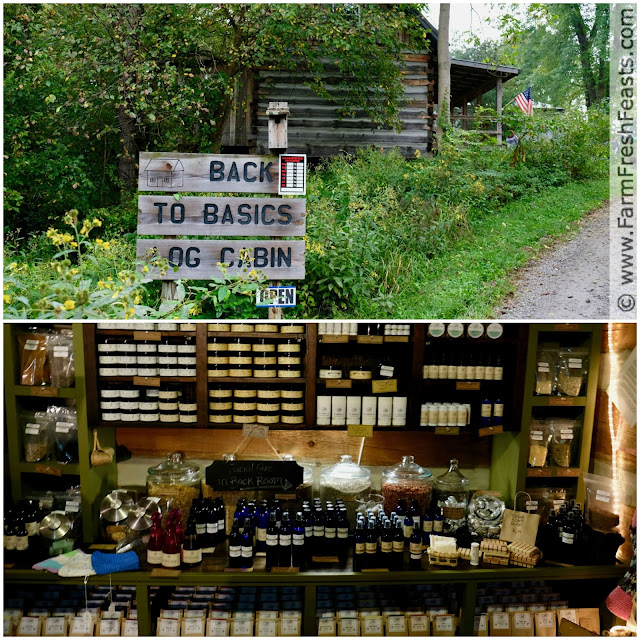 Back to Basics Log Cabin in Belpre, Ohio has shelves brimming with soaps, lotions, and potions.