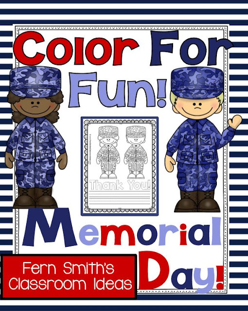 Memorial Day Color for Fun Coloring Pages and Thank You Stationary Freebie at TeacherspayTeachers from Memorial Day Freebies Thank You Gifts at Teacherspayteachers From Fern Smith's Classroom Ideas and Teach123 AND MORE!