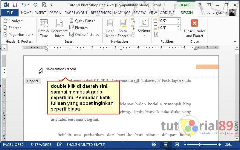 Cara membuat header dan footer di word
