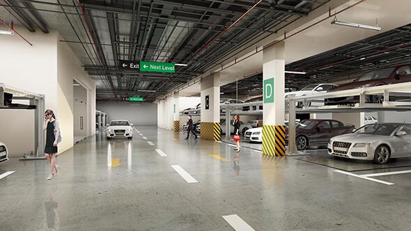 Tầng hầm để xe thông thoáng, hiện đại