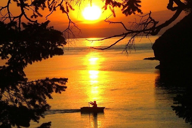 Dinghy Sunset at Matia Island in the San Juans