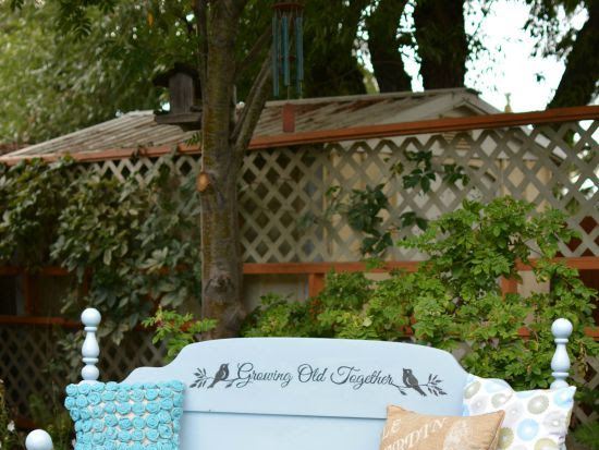 Outdoor Garden Headboard Bench For Two