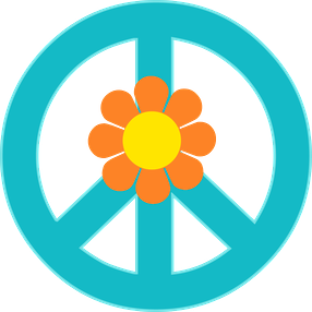 light blue peace and love symbol