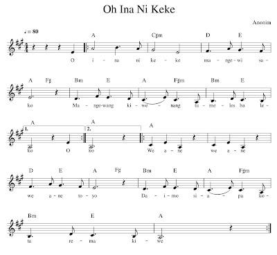contoh nada a not balok lagu o ina ni keke