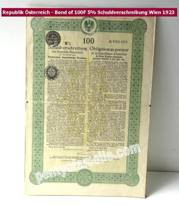 1923 Republik Österreich  Bond of 100F 5% Schuldverschreibung Wien in good condition