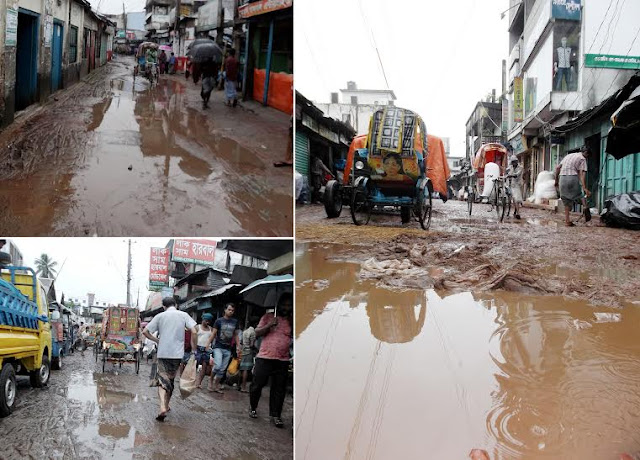 Pedestrians-suffering-from-muddy-streets-in-the-market