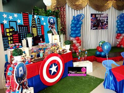 Captain America themed dessert buffet