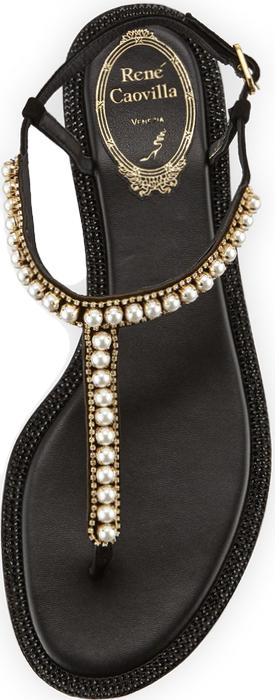 Rene Caovilla Pearly T-Strap Flat Sandal, Black