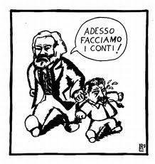 """Vignetta di Marx che sgrida Stalin come un genitore: """"Adesso facciamo i conti!"""""""