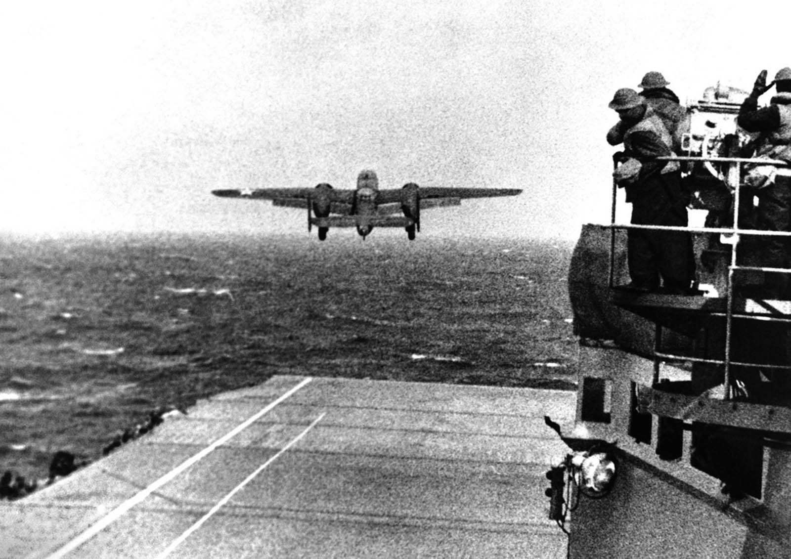 A U.S. Army Air Force B-25B bomber leaves the deck of the USS Hornet, for the historic raid on Tokyo under Maj. Gen. James Doolittle, on April 18, 1942. Each aircraft carried three 500-pound high-explosive bombs and one incendiary bomb.