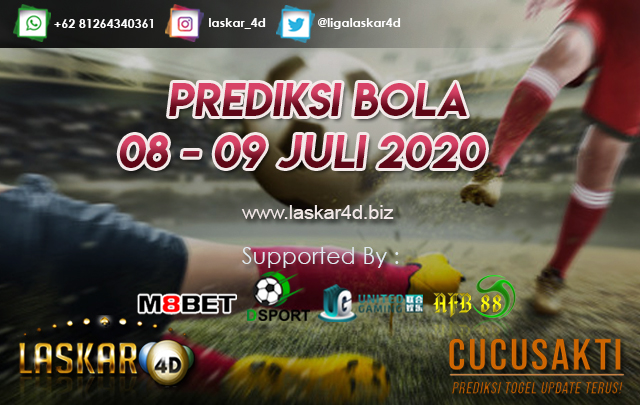 PREDIKSI BOLA JITU TANGGAL 08 - 09 JULI 2020