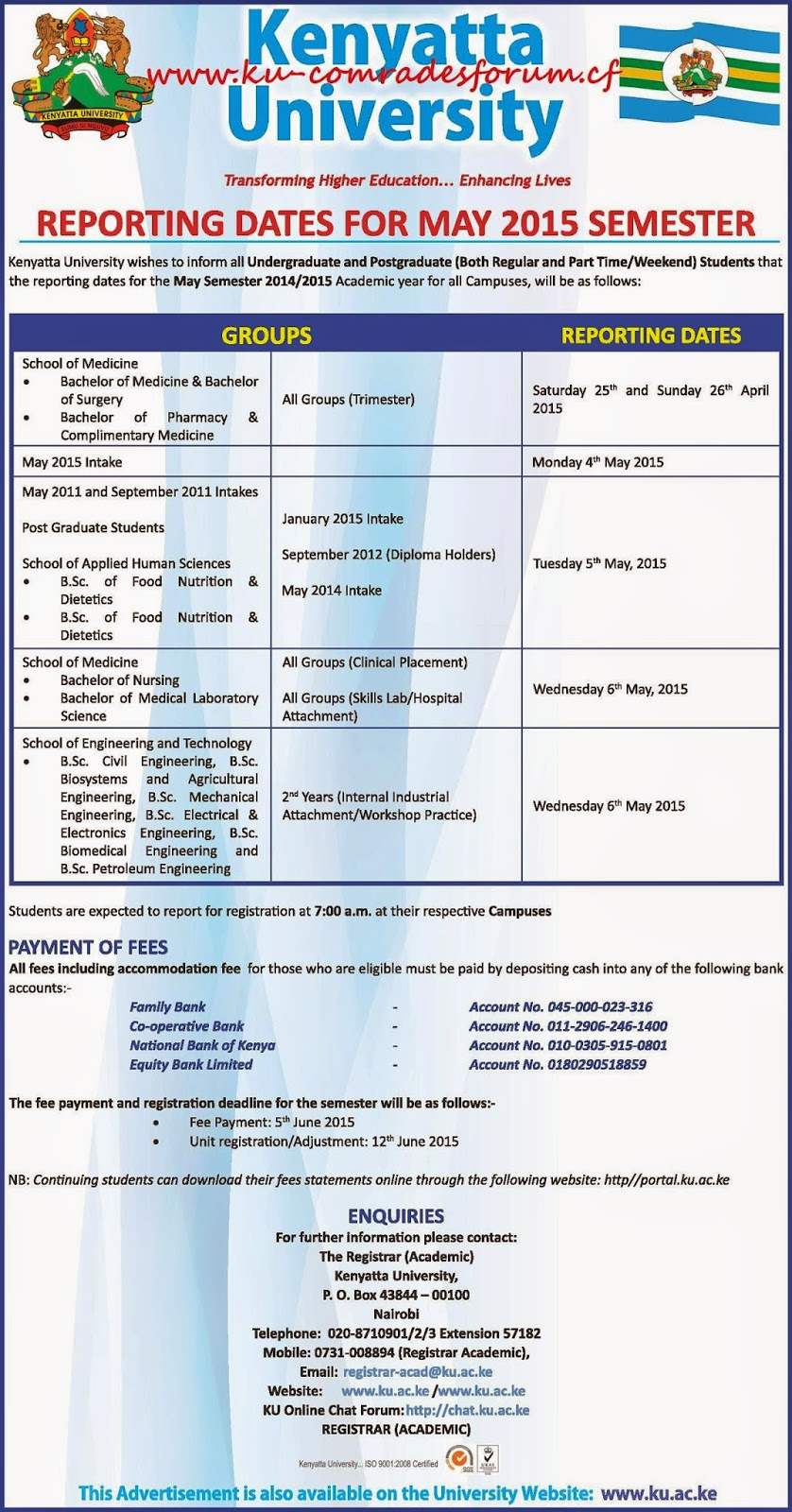 Kenyatta University May Session Reporting Dates | K U - Comrades Forum