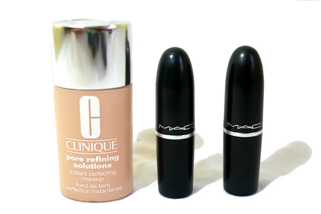 Clinique Instant Perfecting Makeup, MAC Lipstick in Taupe and All Fired Up