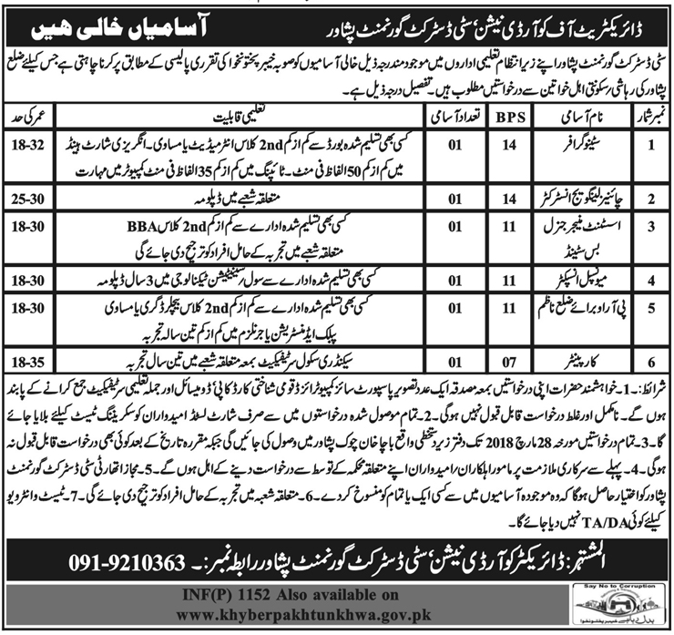 Jobs In City District Government Peshawar 2018 for 6 Vacancies