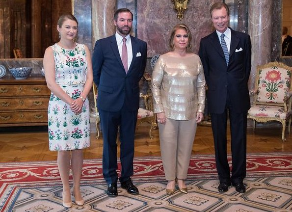 Grand Duke Henri and Grand Duchess Maria Teresa, Prince Guillaume and Princess Stéphanie attend the garden party at Colmar-Berg in Luxembourg