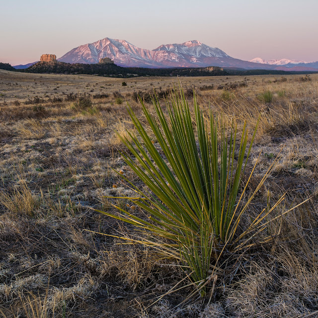 The Spanish Peaks in the sangre de Cristo Mountains near Walsenburg at sunrise