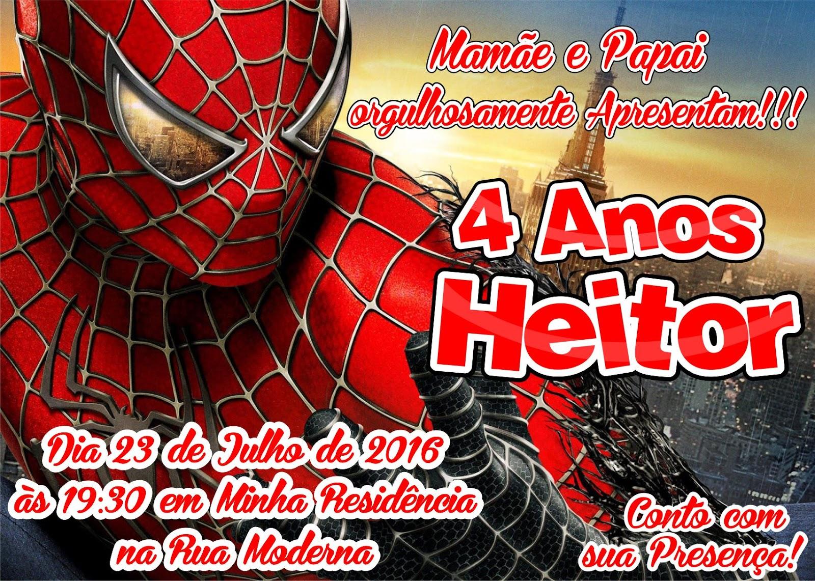 Convite Do Homem Aranha Para Imprimir
