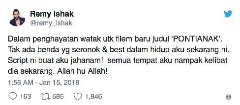 Dek Kerana Terlalu Menghayati Watak,Remy Ishak Diekori Pontianak