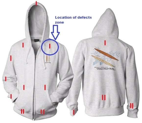Location of defect zone for a hooded jacket
