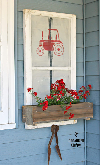 Farmhouse Style Rustic Window Screen Window Box Planter #stencil #oldsignstencils #grainsackstripe #tractor