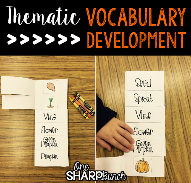 Do your student struggle with learning new vocabulary words?  Check out these tips for building vocabulary and making abstract words more concrete!  Plus, there are a variety of pumpkin ideas perfect for pumpkin week, like this life cycle of a pumpkin flap book!