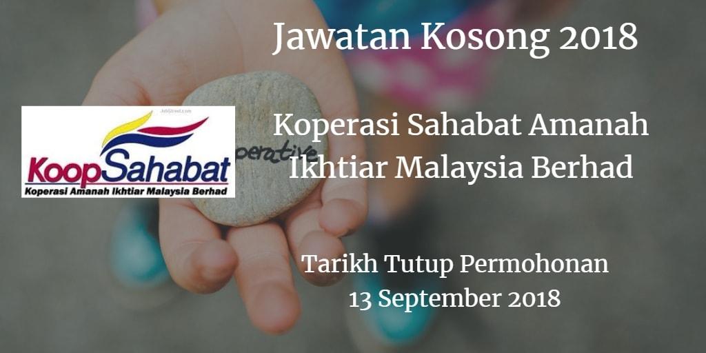 Jawatan Kosong Koperasi Sahabat Amanah Ikhtiar Malaysia Berhad 13 September 2018
