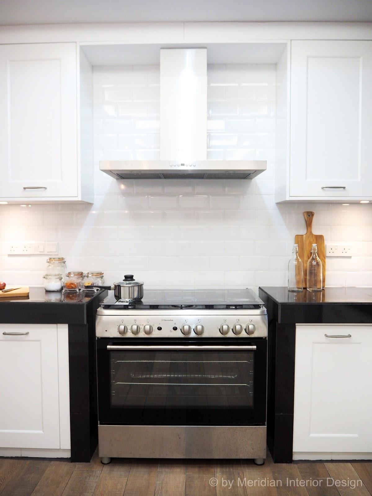 White glass kitchen island unit work top - Meridian Interior Design And Kitchen Design In Kuala