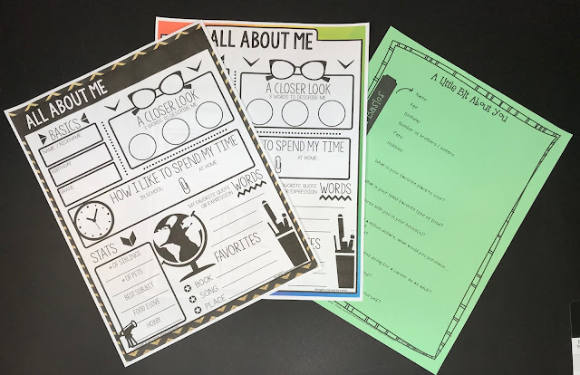 Back to school warm up activity that you can place on students' desks. The All About Me Poster is great for getting to know students. The student survey is perfect for back to school.