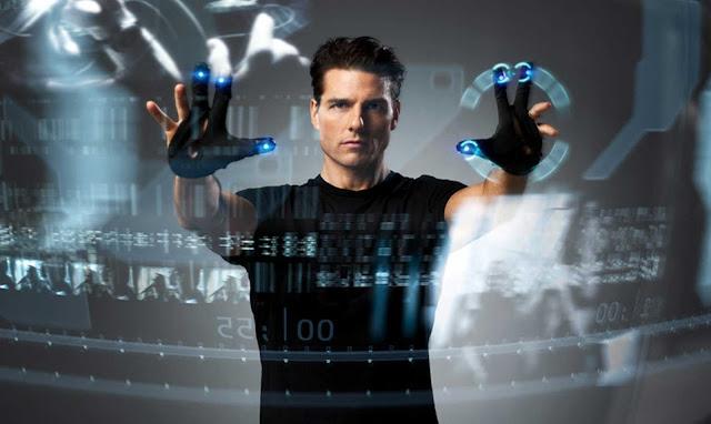 Escena de Minority Report de la interfaz de control de contenidos en 3D mediante gestos