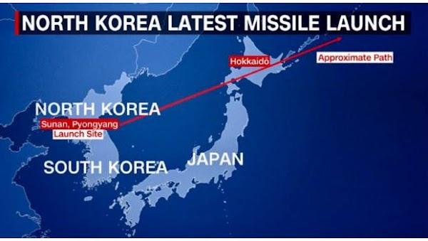 Corea del Norte lanza misil sobre espacio aéreo de Japón