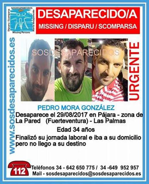 Un hombre de 34 años, Pedro Mora González, desaparecido en Pájara, Fuerteventura