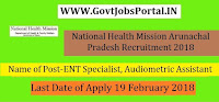 National Health Mission Arunachal Pradesh Recruitment 2018 – 27 ENT Specialist, Audiologist, & Audiometric Assistant