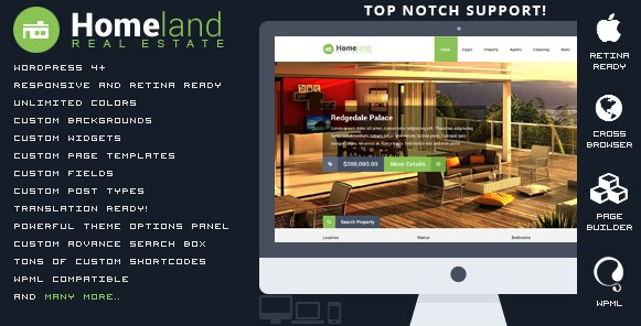 Download HomeLand V3.1.6 Responsive Real Estate Wordpress Theme free