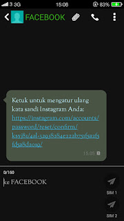 mengganti password instagram dengan SMS