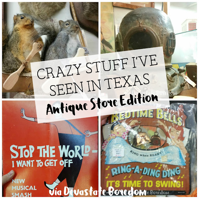 Funny, weird, bizarre, and hilarious -- I've seen lots of crazy things in Dallas TX, and I've got photos to prove it!  Explore a thrift store / antique shop with me, and see all the strange stuff formerly lurking in Texans' closets and attics!  via Devastate Boredom
