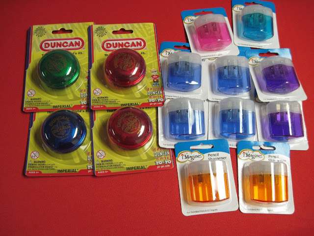 Yo-yos and pencil sharpeners.
