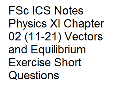 FSc ICS Notes Physics XI Chapter 02 (11-21) Vectors and Equilibrium Exercise Short Questions