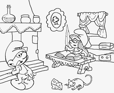 Clumsy cute Smurfette pretty cartoon smurf pictures to print cool coloring pages for teenage girls