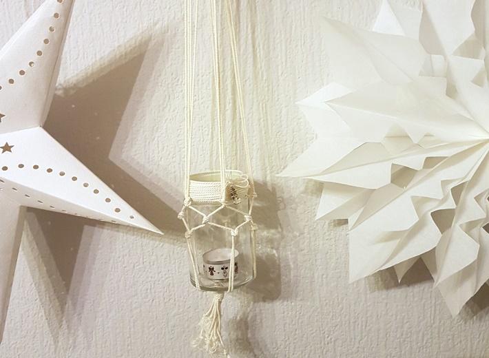 weiße Sterne mit Laternenglas - DIY - geknüpft Makramee