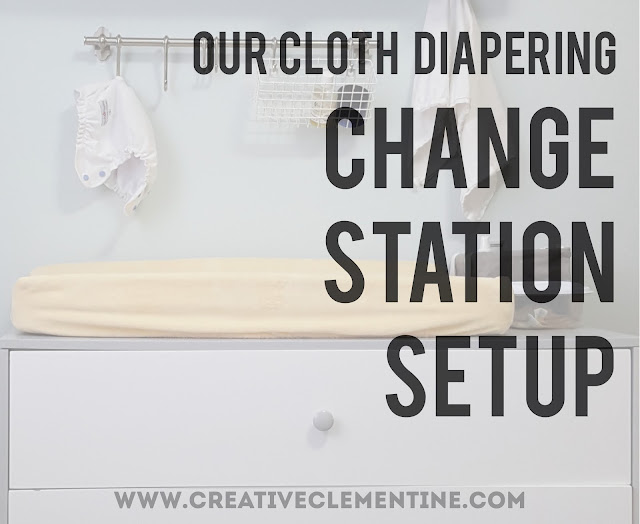 Cloth Diaper change table setup via www.creativeclementine.com