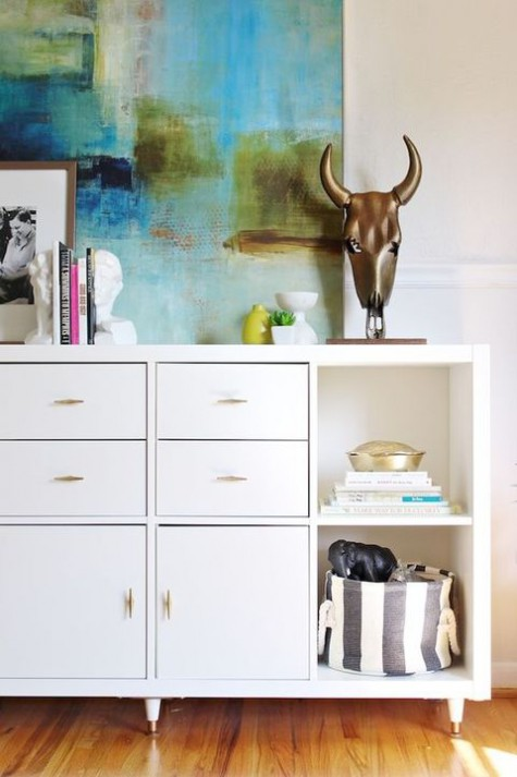 Ikea hack for Kallax shelving to become chic dresser - found on Hello Lovely Studio
