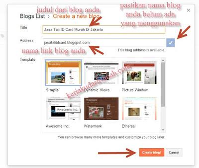 Cara Membuat Blog Gratis Di Blogger gratis