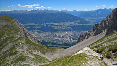 View south back down to Innsbruck from the mountain