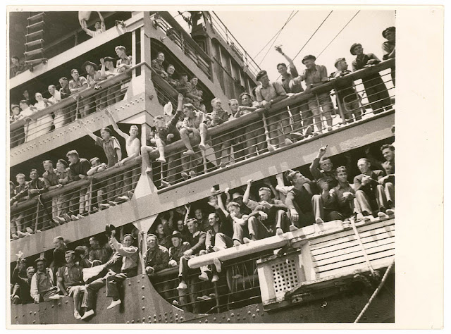 This photo is from a collection depicting the wartime departure of the 6th Division for the Middle East, from Sidney,  9-10 January 1940. From the collection of the State Library of New South Wales.