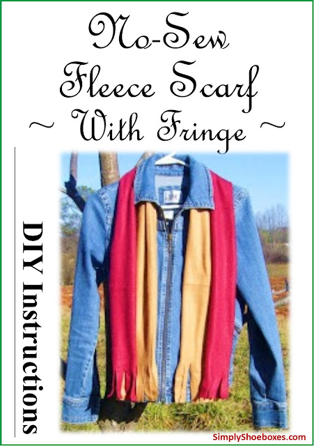 No-sew Fleece Scarf with Fringe tutorial.  Made for Operation Christmas Childs shoeboxes.